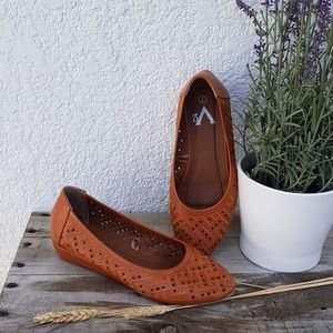 Shoes - Rust color slip ons with slight heel